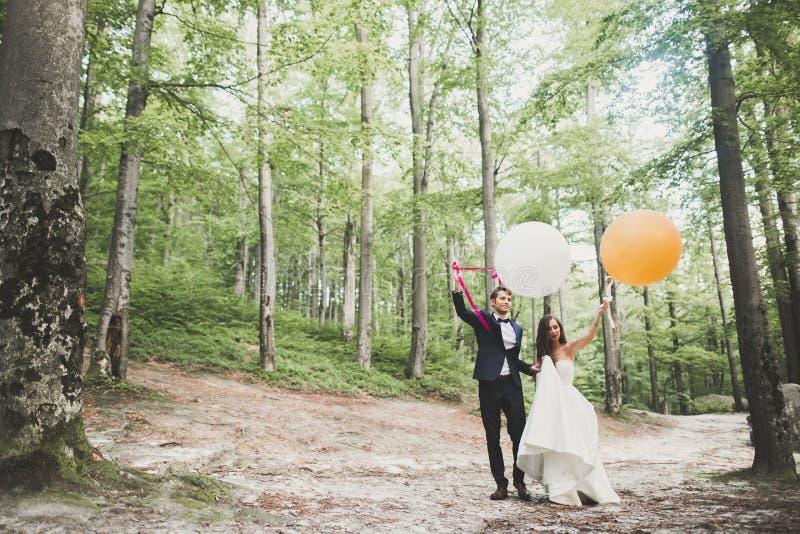 年轻滑稽的愉快的婚姻的夫妇户外与轻快优雅 免版税图库摄影