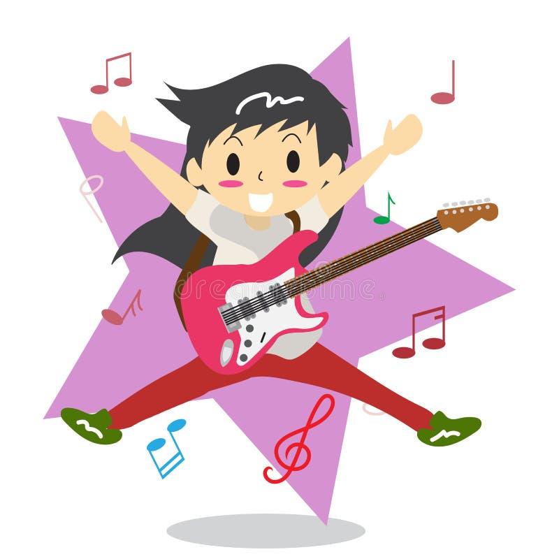 年轻演奏电岩石吉他愉快的爱的男孩长的头发 向量例证