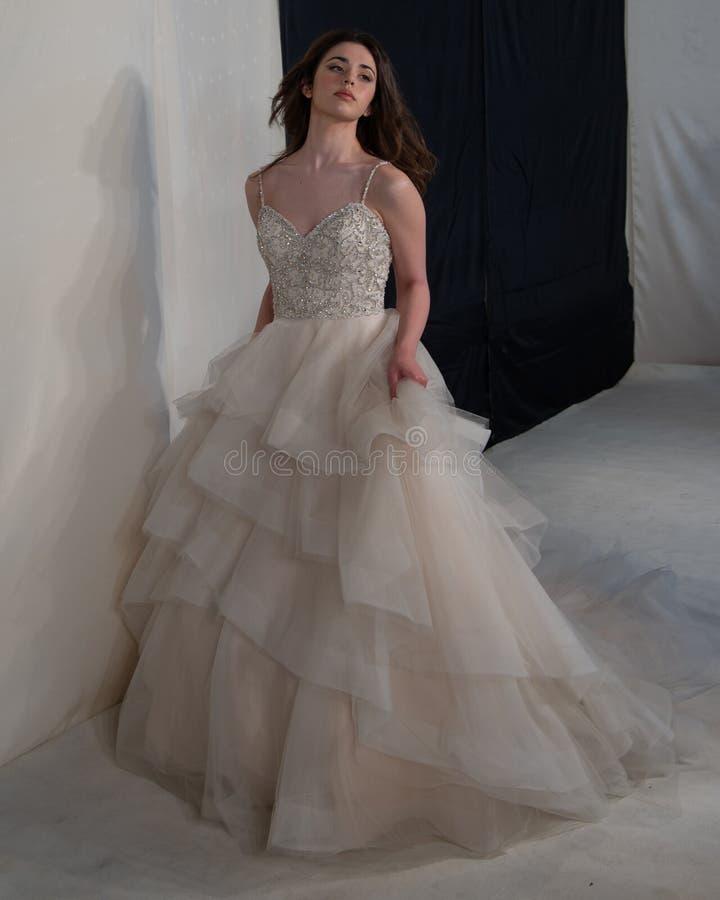 年轻用小珠装饰的新娘佩带的婚礼礼服新娘象牙鞋带围腰,有皱纹的薄纱裙子 免版税图库摄影