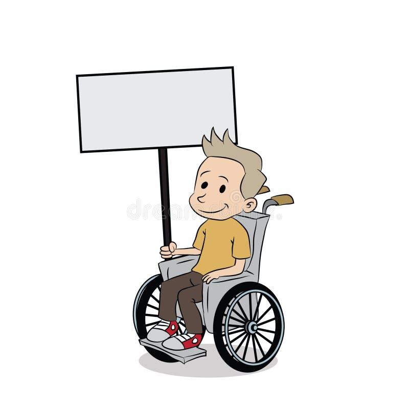 年轻男孩以在轮椅的伤残 向量例证