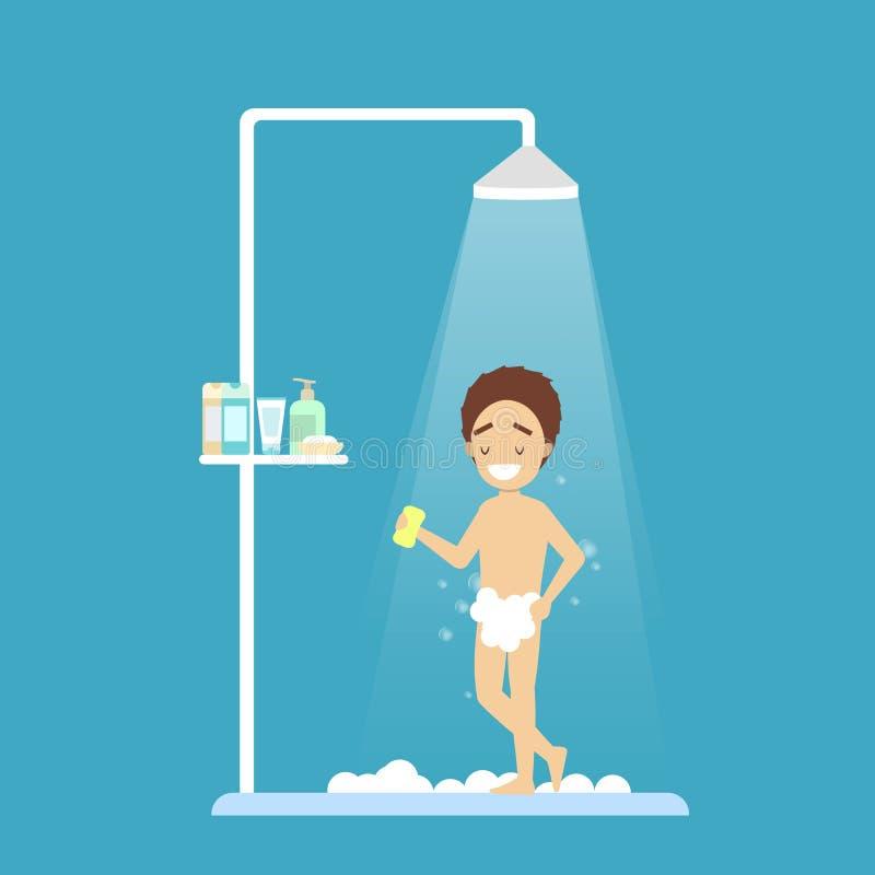 年轻男孩作为阵雨在卫生间里 库存例证