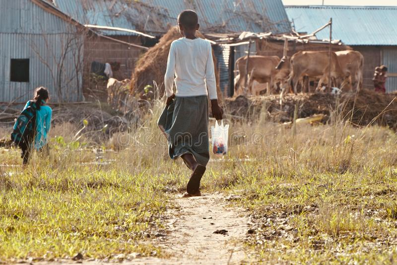 年轻男孩在路股票照片走 图库摄影
