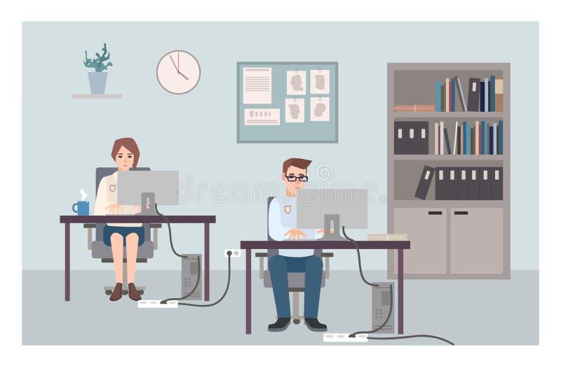 年轻男性和女性坐在书桌和调查的罪行的警察 工作在计算机的警察或警察 向量例证