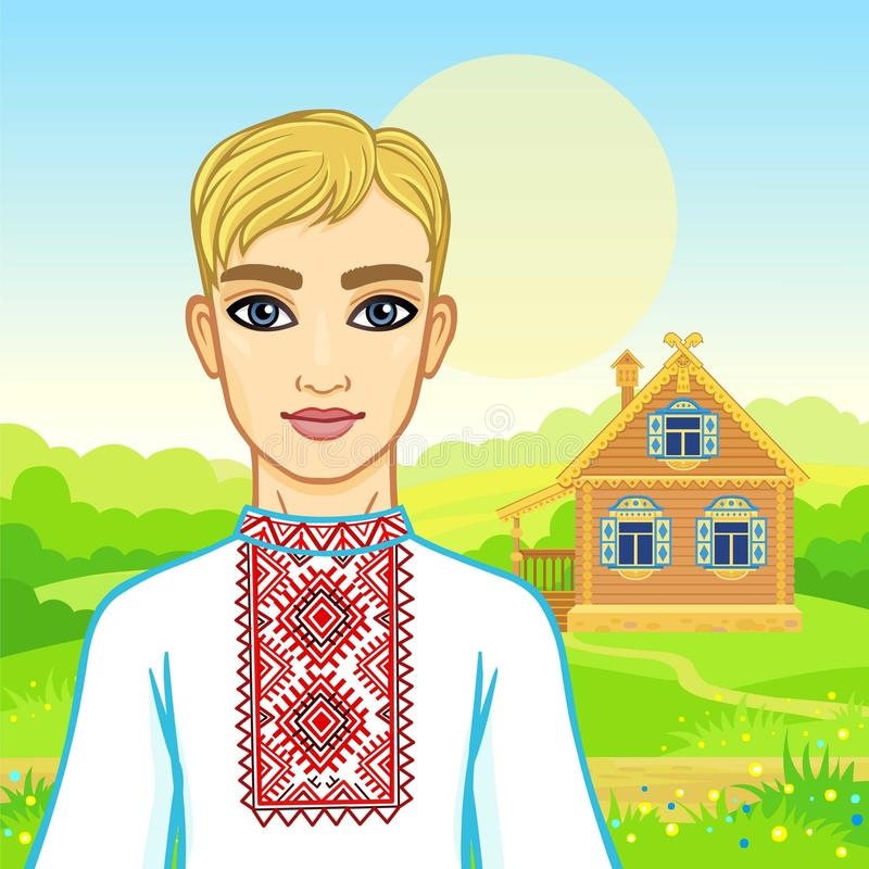 年轻白俄罗斯语人的动画画象传统衣裳的 童话字符 库存例证