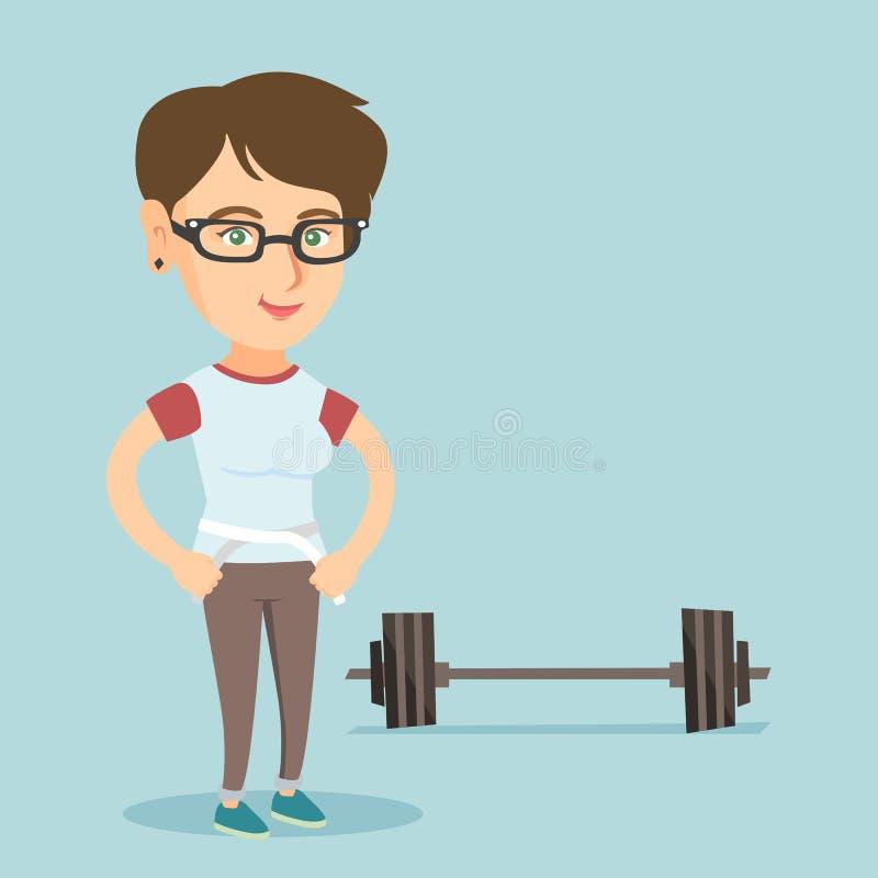 年轻白种人妇女测量的腰部 向量例证