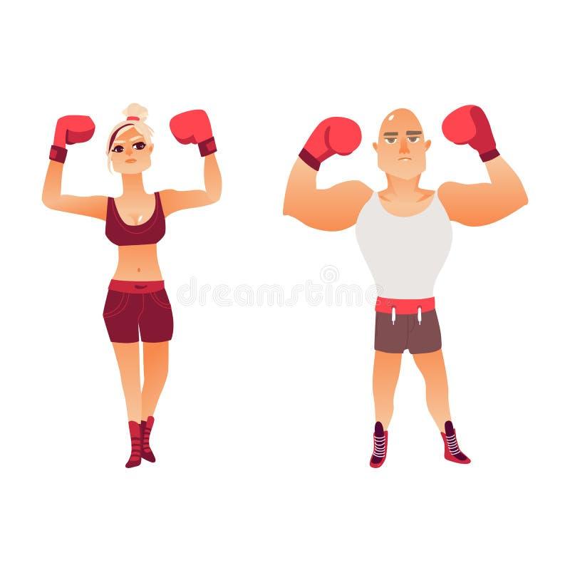 年轻白种人拳击手、男人和妇女夫妇  向量例证