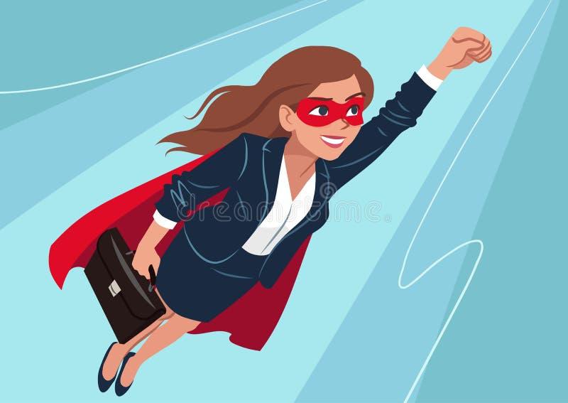 年轻白种人超级英雄妇女佩带的西装和海角, 向量例证