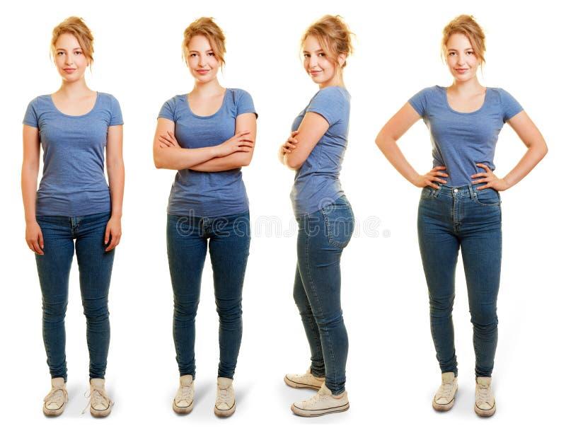 年轻白肤金发的妇女作为保险开关 库存图片