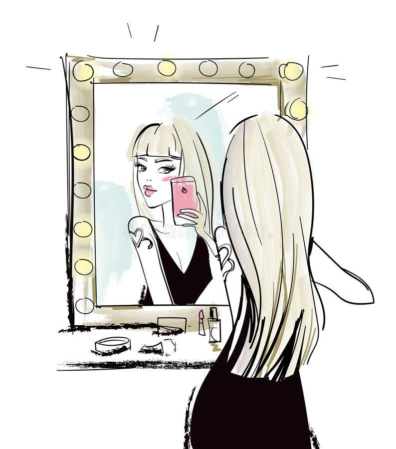 年轻白肤金发的妇女做与镜子的selfie 库存例证