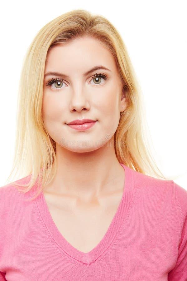 年轻白肤金发的妇女护照照片  免版税库存图片