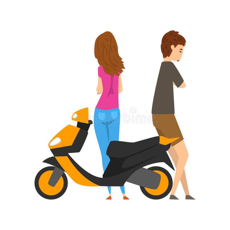 年轻站立在滑行车旁边的人和妇女导航在白色背景的例证 库存例证
