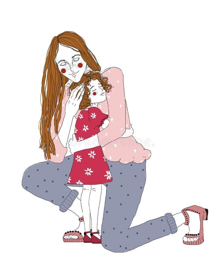 年轻红头发人妇女拥抱幼儿园女孩 照顾huggs她的一点doughte并且表达关心并且爱 日愉快的母亲 库存例证