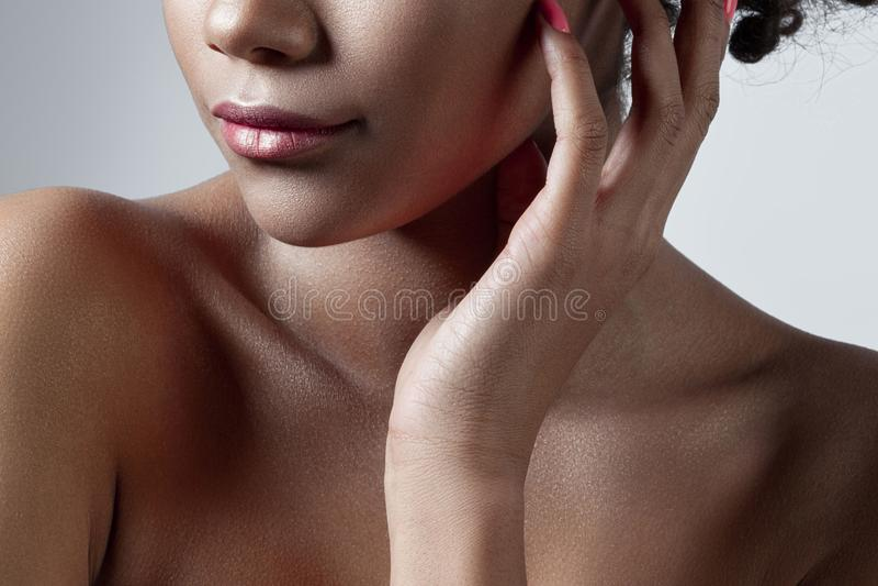 年轻美丽的女孩的棕榈和嘴唇有干净的完善的皮肤分类的 库存图片