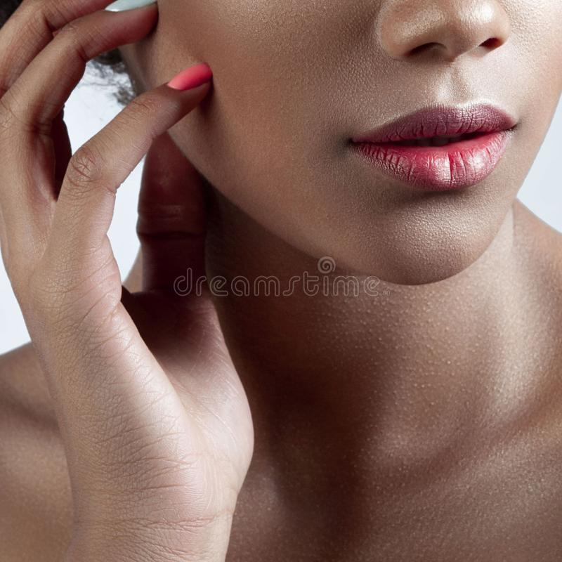 年轻美丽的女孩的棕榈和嘴唇有干净的完善的皮肤分类的 免版税图库摄影