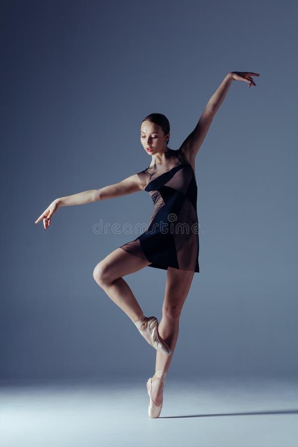 年轻美丽的芭蕾舞女演员在演播室摆在 免版税库存照片