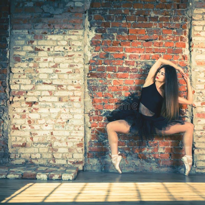 年轻美丽的芭蕾舞女演员在葡萄酒演播室摆在 库存照片