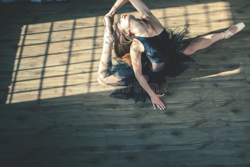 年轻美丽的芭蕾舞女演员在葡萄酒演播室摆在 图库摄影