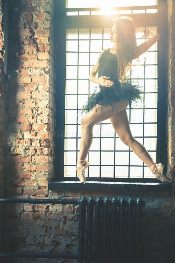 年轻美丽的芭蕾舞女演员在葡萄酒演播室摆在 免版税图库摄影