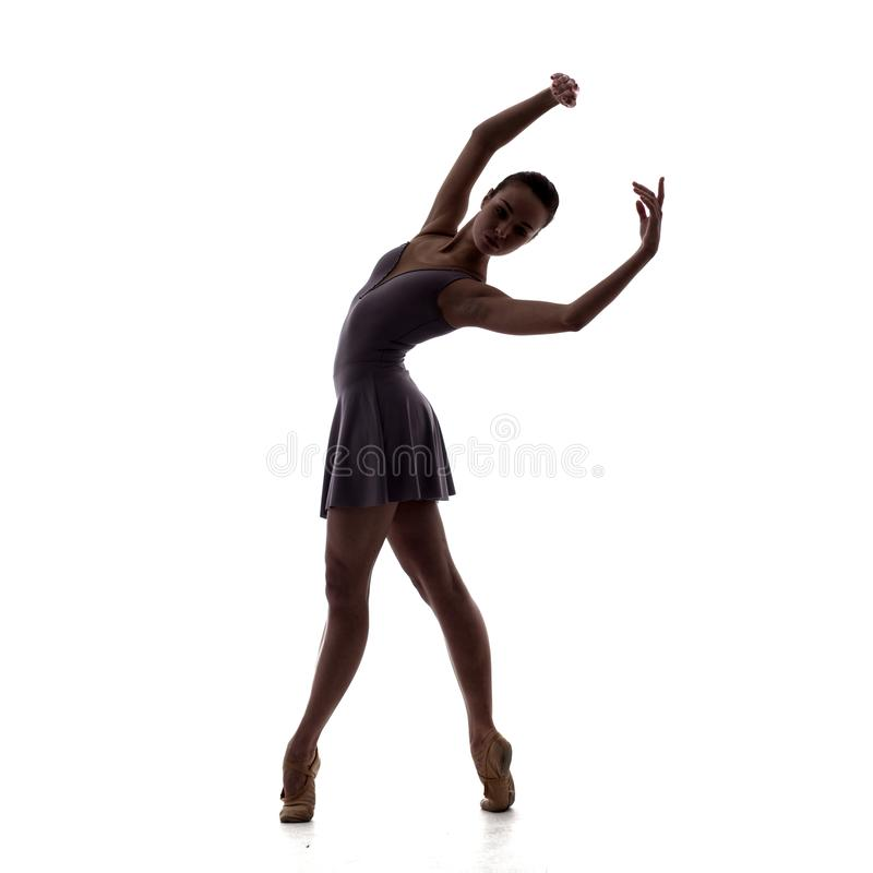 年轻美丽的跳芭蕾舞者剪影在淡紫色礼服的 免版税库存图片