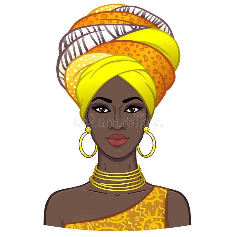 年轻美丽的非洲妇女的动画画象头巾的 皇族释放例证