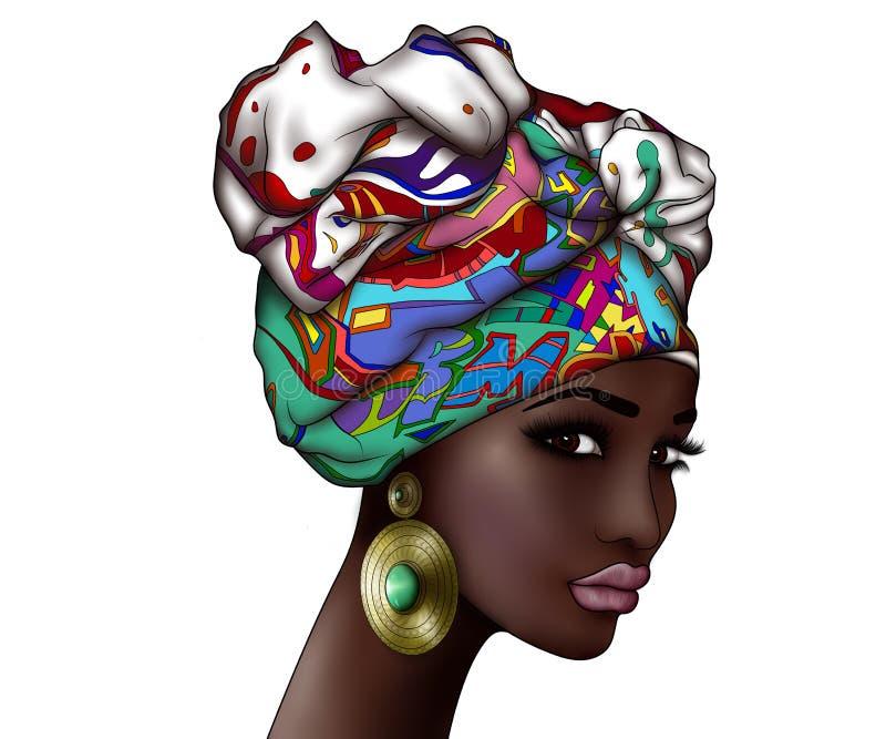 年轻美丽的非洲妇女的画象头巾的 皇族释放例证