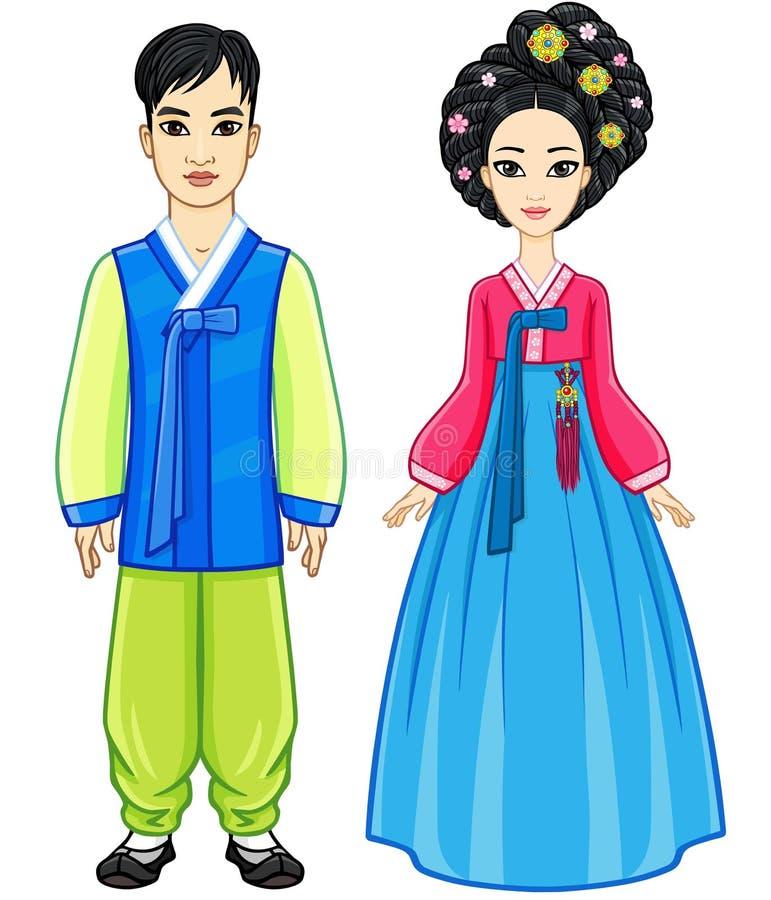 年轻美丽的韩国家庭动画画象在古老传统衣裳的 被晒黑的皮肤 向量例证