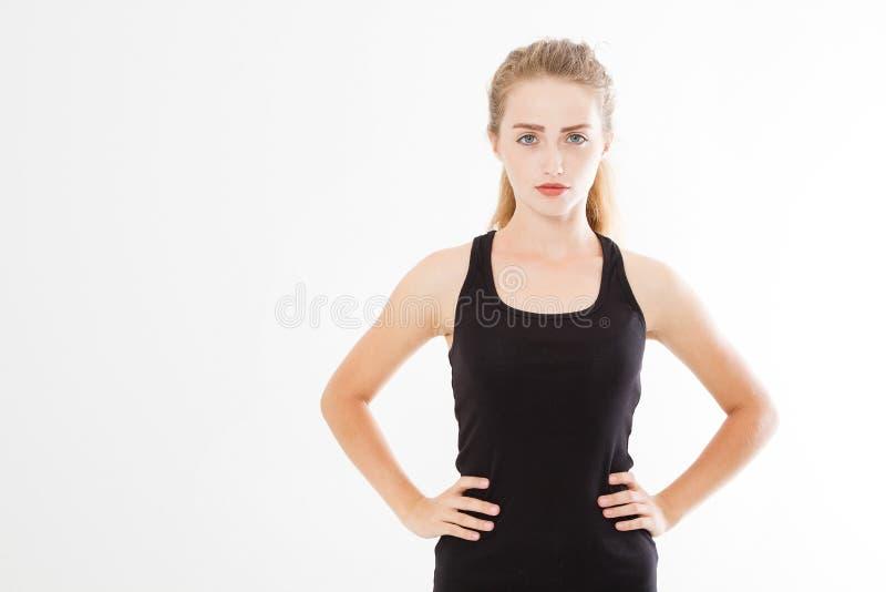 年轻美丽,白种人女孩画象  黑时髦的衬衣的妇女在白色背景 设计的大模型,空白 免版税库存照片