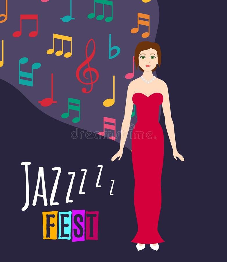 年轻美女唱爵士乐歌曲传染媒介例证 爵士乐歌手和节日海报有深蓝背景和 皇族释放例证