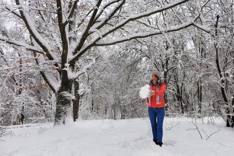 年轻美女在冬天走在积雪的童话森林里在多枝四季不断的老橡木附近 库存图片