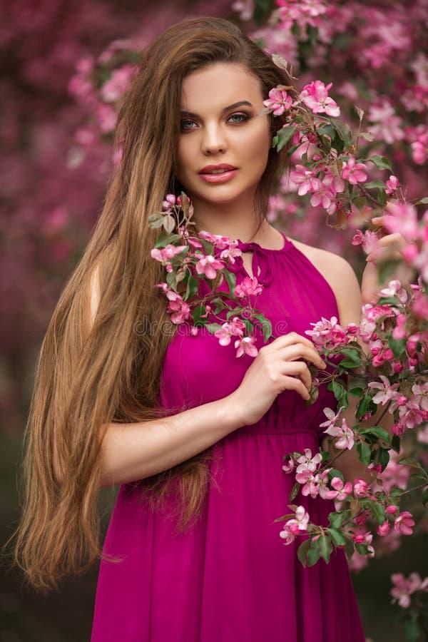 年轻美女浪漫画象在开花的桃红色苹果庭院里 免版税库存照片