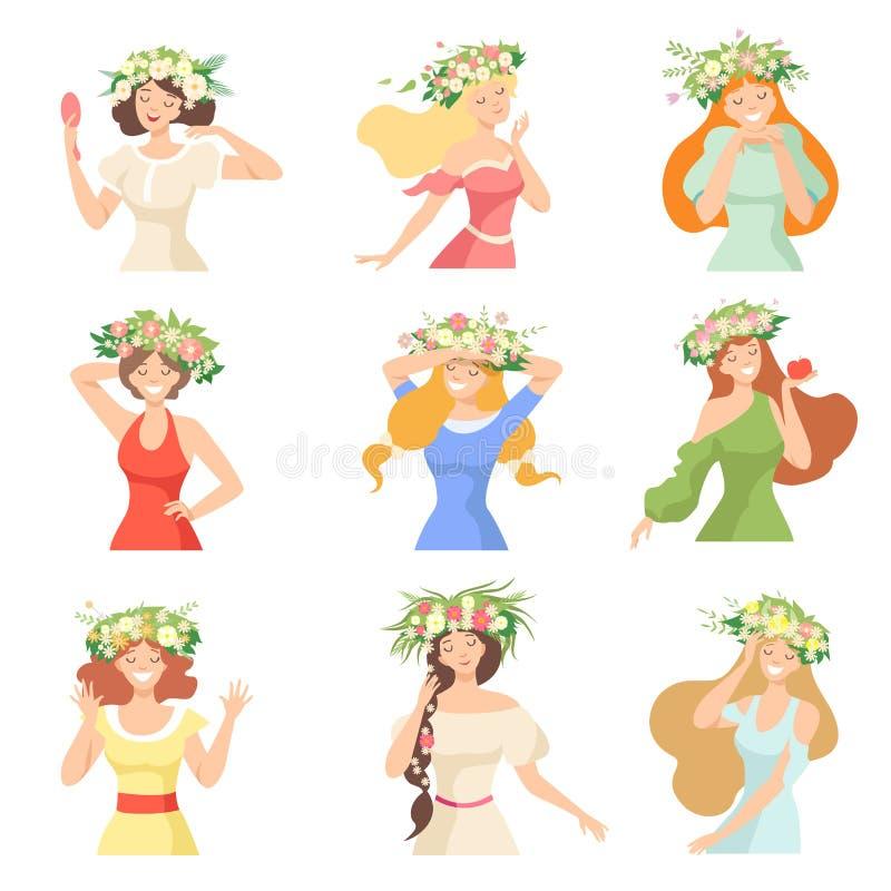 年轻美女的汇集有花花圈的,愉快的典雅的女孩画象有花卉花圈传染媒介的 皇族释放例证
