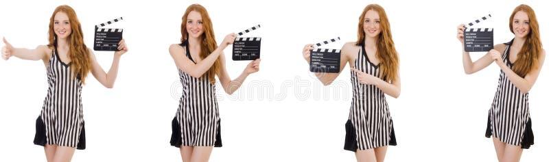年轻美女藏品拍板板 库存照片
