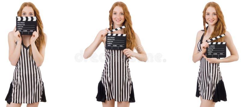 年轻美女藏品拍板板 免版税库存图片