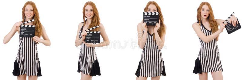 年轻美女藏品拍板板 库存图片