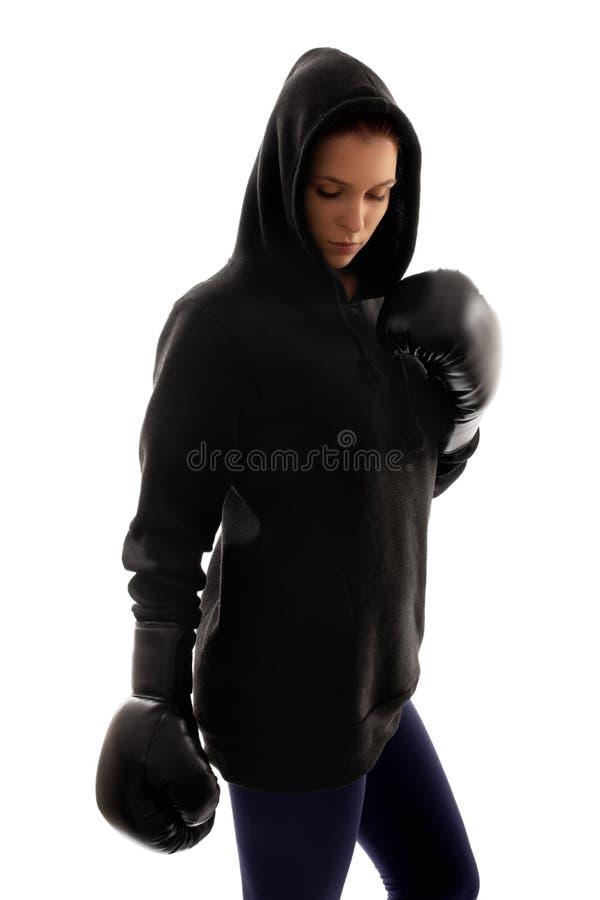 年轻美好女性拳击手反射 免版税库存照片