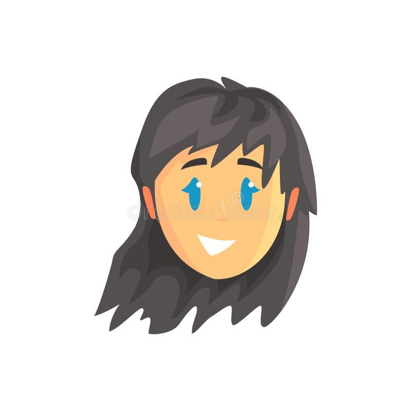 年轻美好的深色的妇女面孔具体化,正面女性角色动画片传染媒介例证 皇族释放例证