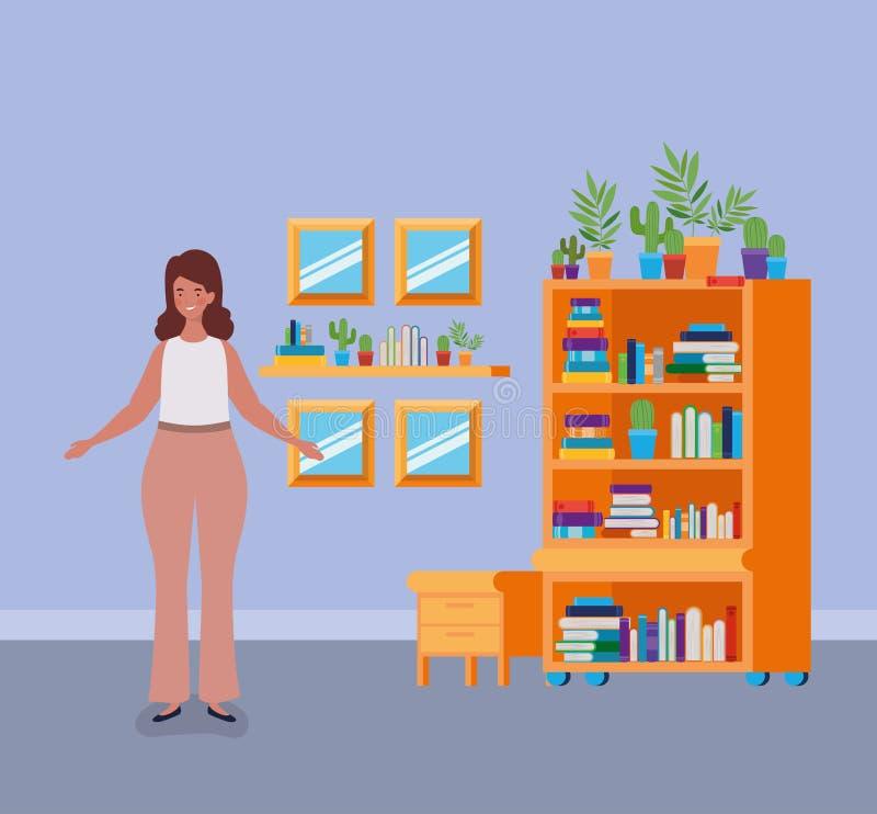 年轻肥胖妇女身分在图书馆屋子 向量例证