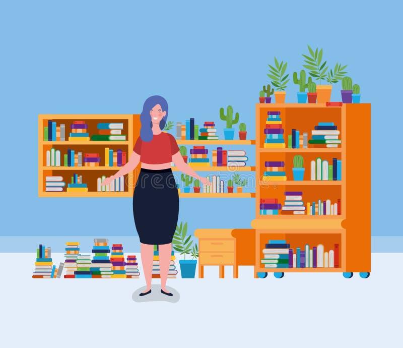 年轻肥胖妇女身分在图书馆屋子 皇族释放例证