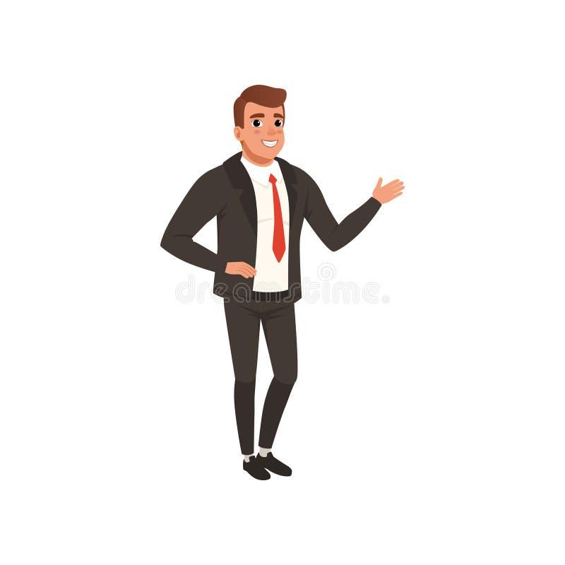 年轻自信商人站立的和挥动的手 在经典黑衣服的动画片男性角色与红色领带 皇族释放例证