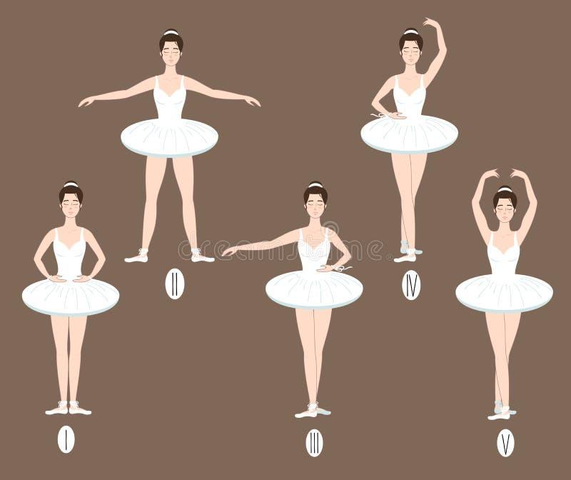 年轻舞蹈家执行五个基本的芭蕾位置, 库存例证