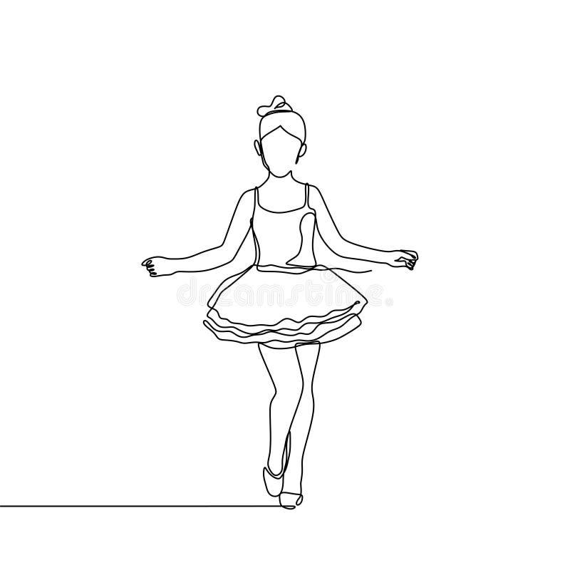 年轻芭蕾舞女演员一个实线图画传染媒介例证 艺术性的舞蹈简单派设计 向量例证