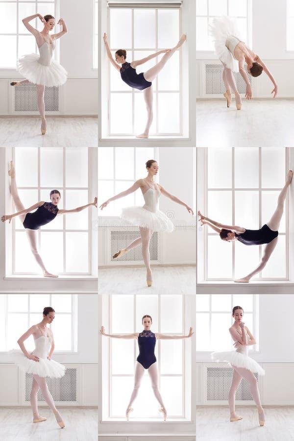 年轻芭蕾舞女演员站立在芭蕾的套摆在 免版税库存图片