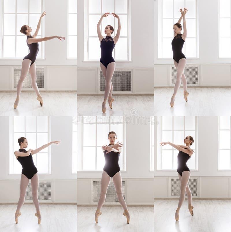 年轻芭蕾舞女演员站立在芭蕾的套摆在 库存图片