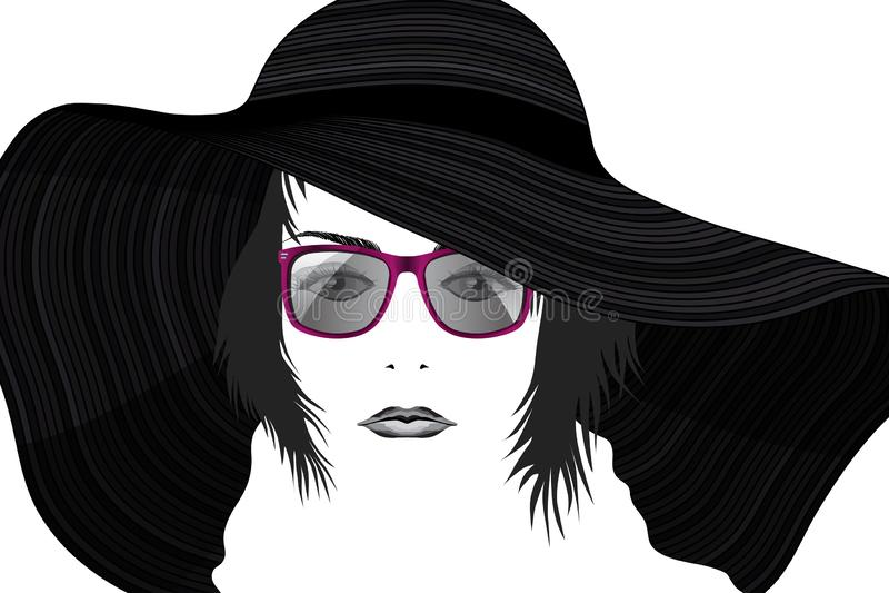 年轻花姑娘时尚画象帽子和太阳镜的传统化了 库存例证