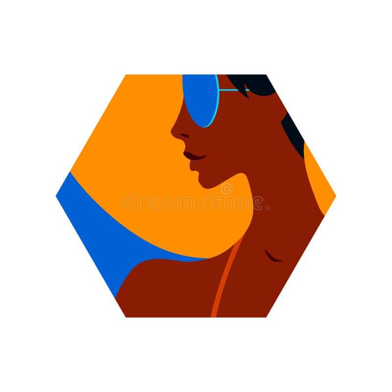 年轻被晒黑的美女画象太阳镜和帽子的 六角形传染媒介现代例证,夏时设计元素, 库存例证