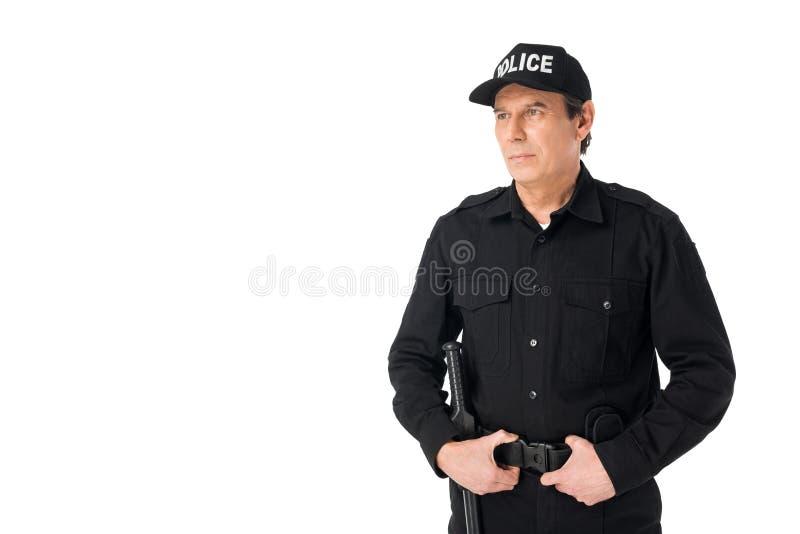 年轻被隔绝的警察佩带的制服 免版税库存图片