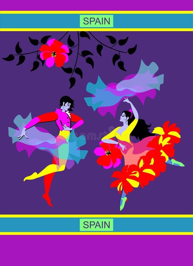 年轻西班牙夫妇跳舞的佛拉明柯舞曲在夜庭院里 有雨衣和妇女的人有以飞鸟的形式披肩的 皇族释放例证
