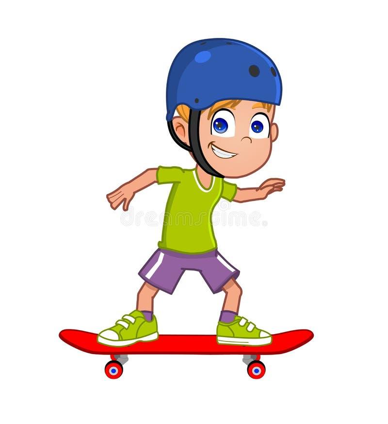 年轻踩滑板的男孩 免版税库存照片