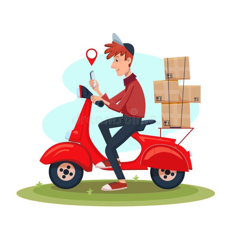 年轻送货人坐滑行车和看见电话 快速的送货业务概念 被隔绝的动画片传染媒介 向量例证