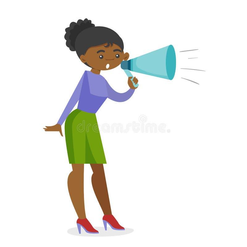 年轻非洲女权呼喊入扩音机 向量例证